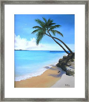 Bahamian Twin Palms Framed Print