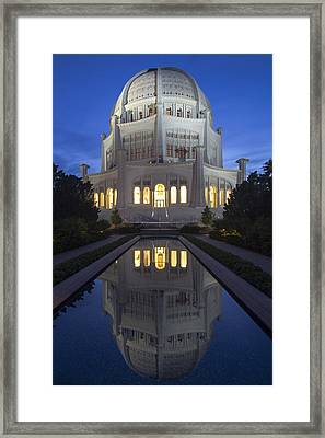 Bah'i Temple With Reflection Pool At Dusk Framed Print