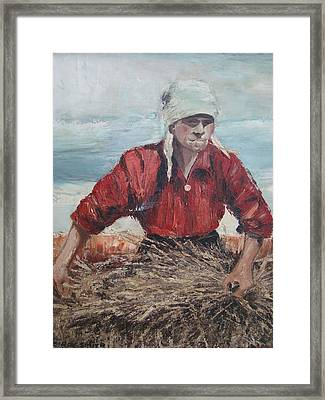 Bailing Hay In Russia Framed Print by Charles Roy Smith