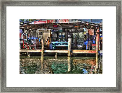 Framed Print featuring the photograph Bait Ice  Beer Shop On Bay by Dan Friend