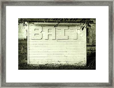 Bait Sign Fishing Black And White Framed Print by Terry DeLuco