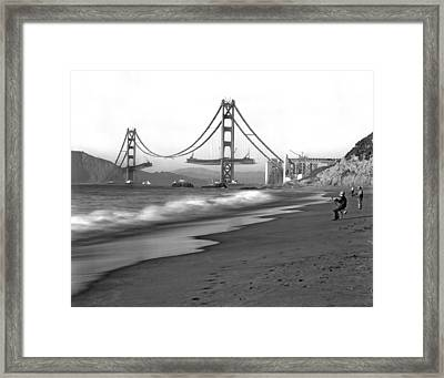 Baker Beach In Sf Framed Print by Underwood Archives