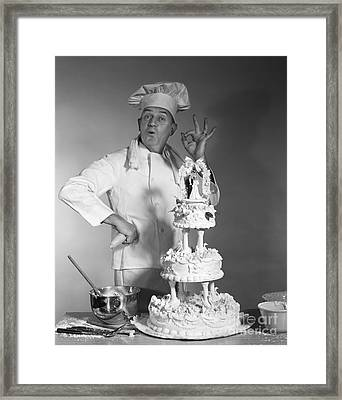 Baker Making Ok Sign, C. 1960s Framed Print