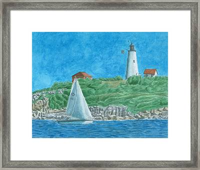 Bakers Island Lighthouse Framed Print by Dominic White