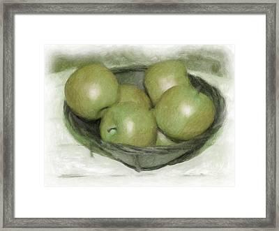 Baking Apples Framed Print by Susan  Lipschutz