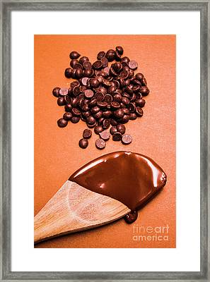 Baking Scene Of Spoon Covered With Chocolate Framed Print