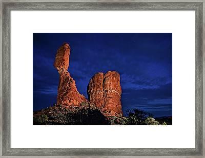 Balanced Rock Light Painted Framed Print