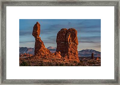 Balanced Rock Sunset Framed Print
