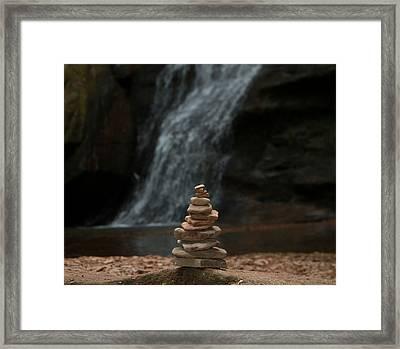 Balanced Stones Waterfall Framed Print