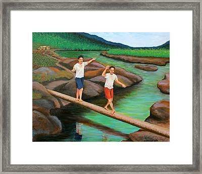 Balancing Life Through A Straight And Narrow Path Framed Print