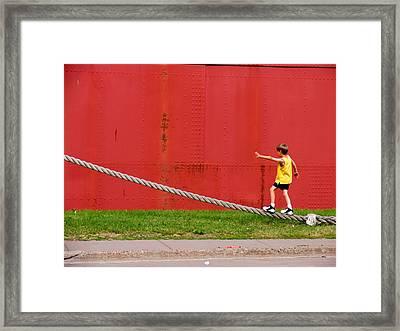 Balancing On Harbor Time Framed Print
