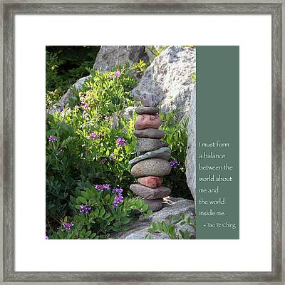 Balancing Stones With Tao Quote Framed Print by Heidi Hermes
