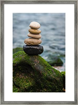Balancing Zen Stones By The Sea IIi Framed Print by Marco Oliveira