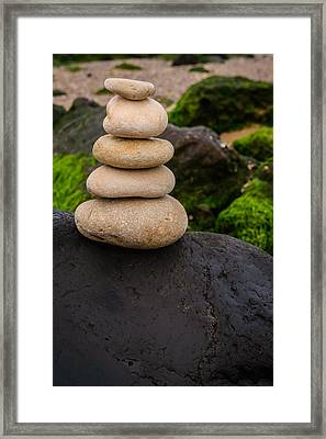 Balancing Zen Stones By The Sea V Framed Print by Marco Oliveira