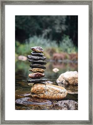 Balancing Zen Stones In Countryside River I Framed Print