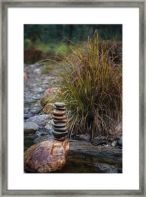 Balancing Zen Stones In Countryside River V Framed Print