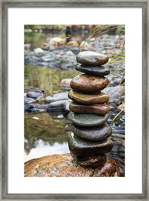 Balancing Zen Stones In Countryside River Vii Framed Print by Marco Oliveira