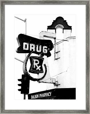 Balboa Drug Framed Print by Rosanne Nitti