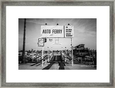Balboa Island Ferry Black And White Picture Framed Print by Paul Velgos