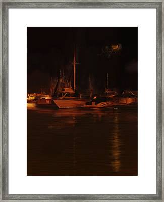Balboa Island Newport Bay Night Framed Print by Angela A Stanton
