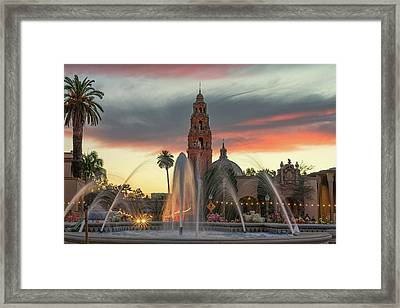 Balboa Park Sunset Framed Print