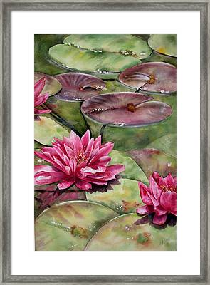 Framed Print featuring the painting Balboa Water Lilies by Mary McCullah