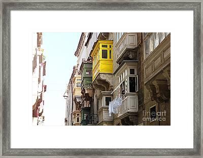 Balconies Of Valletta 1 Framed Print