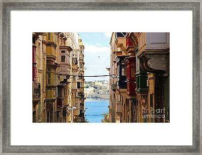 Balconies Of Valletta 2 Framed Print by Jasna Buncic