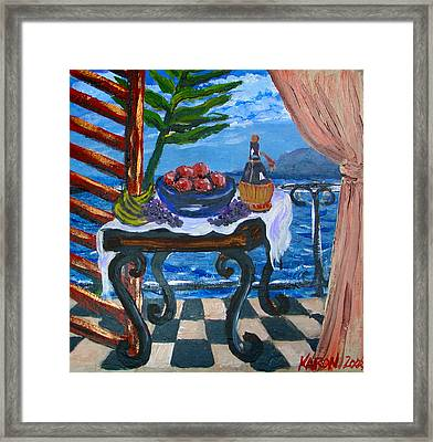 Balcony By The Mediterranean Sea Framed Print by Karon Melillo DeVega