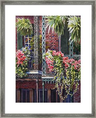 Balcony Gardens Framed Print by Sue Zimmermann