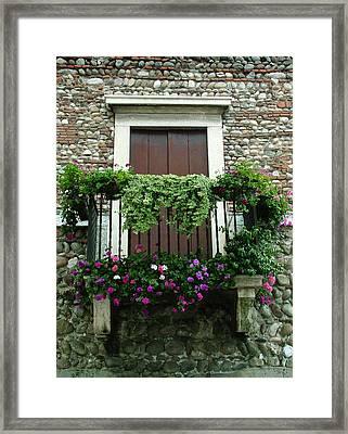 Balcony On Pebbled Wall Framed Print