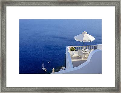 Balcony Over The Sea Framed Print