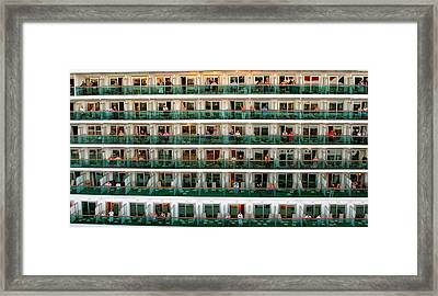 Balcony People Framed Print by Perry Webster