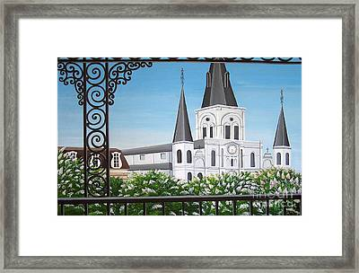 Balcony View Of St Louis Cathedral Framed Print