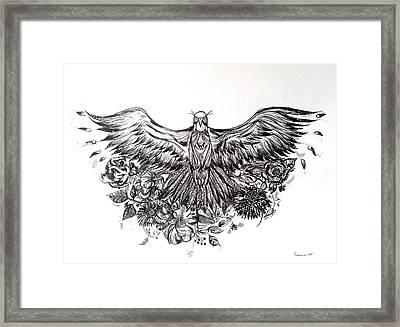 Bald Eagle And Flowers Framed Print by Kremena Petkova