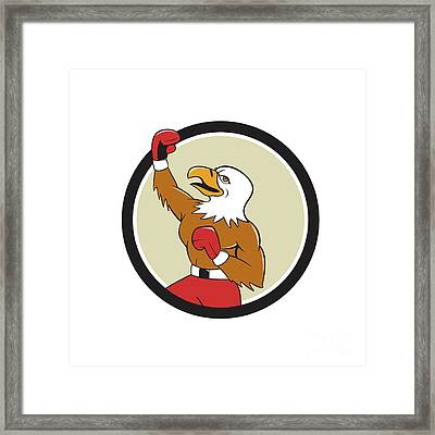 Bald Eagle Boxer Pumping Fist Circle Cartoon Framed Print