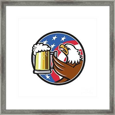 Bald Eagle Hoisting Beer Stein Usa Flag Circle Retro Framed Print by Aloysius Patrimonio