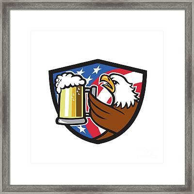 Bald Eagle Hoisting Beer Stein Usa Flag Crest Retro Framed Print