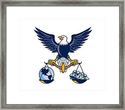 Bald Eagle Hold Scales Earth Money Retro Framed Print