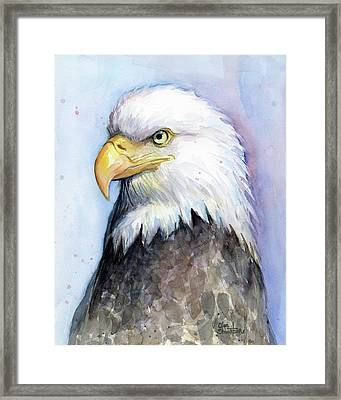 Bald Eagle Portrait Framed Print by Olga Shvartsur