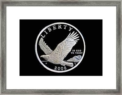 Bald Eagle Silver Dollar Coin Framed Print by Randy Steele