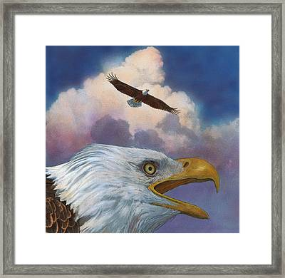 Framed Print featuring the painting Bald Eagles by John Dyess