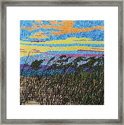 Bald Head Island, Sea Oat Sunset Framed Print by Micah Mullen