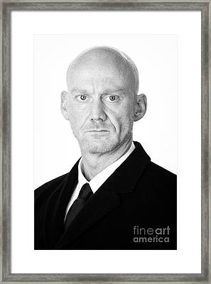 Bald Headed Man Wearing Heavy Black Overcoat Framed Print by Joe Fox