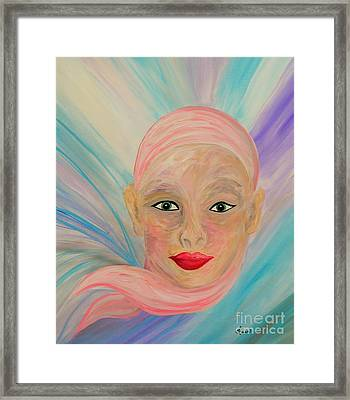 Bald Is Beauty With Green Eyes Framed Print by Eloise Schneider