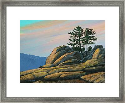 Framed Print featuring the painting Bald Rock At Sunset by Frank Wilson