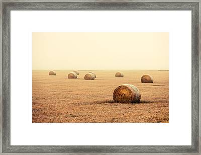 Bales In The Fog Framed Print by Todd Klassy