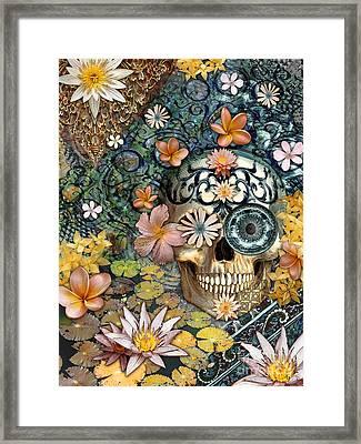 Bali Botaniskull - Floral Sugar Skull Art Framed Print