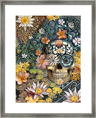 Bali Botaniskull - Floral Sugar Skull Art Framed Print by Christopher Beikmann