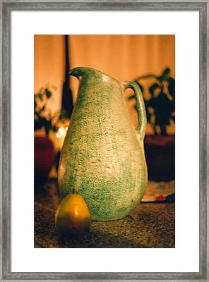 Bali Pitcher And Pear Framed Print by Heather S Huston
